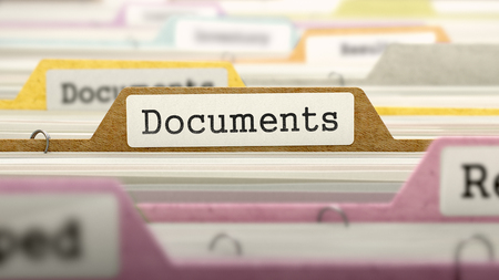 Documents Concept on Folder Register in Multicolor Card Index. Closeup View. Selective Focus. 3D Render.