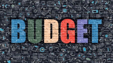 Budget - Multicolor Concept on Dark Brick Wall Background with Doodle Icons Around. Modern Illustration with Elements of Doodle Design Style. Budget on Dark Wall. Budget Concept. Budget.