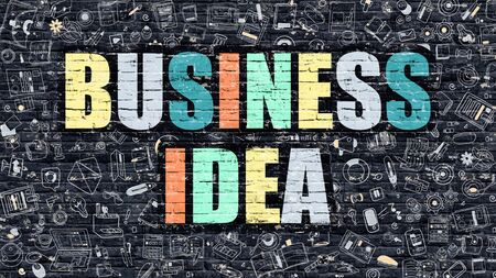genial: Business Idea. Multicolor Inscription on Dark Brick Wall with Doodle Icons. Business Idea Concept in Modern Style. Doodle Design Icons. Business Idea on Dark Brickwall Background. Stock Photo