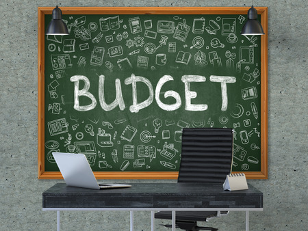 Budget - Hand Drawn on Green Chalkboard in Modern Office Workplace. Illustration with Doodle Design Elements. 3D.