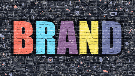 Merk. Multicolor Inschrijving op Donkere Bakstenen muur met Doodle Icons Around. Brand Concept. Modern Style Illustratie met Doodle Design Icons. Brand op Donkere brickwallachtergrond.