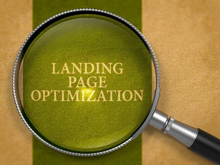 Landing Page Optimization through Magnifying Glass on Old Paper with Dark Green Vertical Line Background. 3D Render.