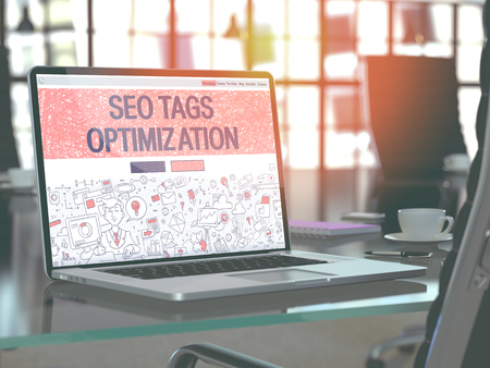metasearch: SEO Tags Optimization - Closeup Landing Page in Doodle Design Style on Laptop Screen. On Background of Comfortable Working Place in Modern Office. Toned, Blurred Image. 3D Render.