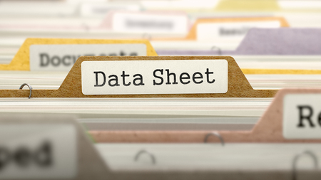 data sheet: Data Sheet Concept on File Label in Multicolor Card Index. Closeup View. Selective Focus.  3D Render. Stock Photo