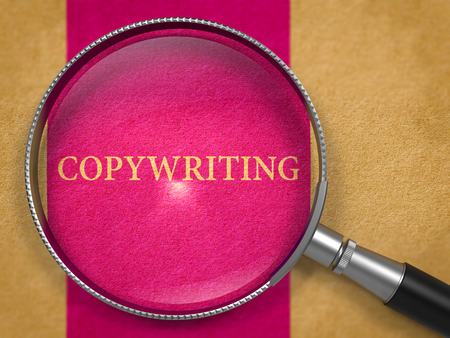 copywriting: Copywriting through Loupe on Old Paper with Lilac Vertical Line Background. 3D Render.