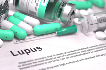 systemic: Lupus - Printed Diagnosis with Mint Green Pills, Injections and Syringe. Medical Concept with Selective Focus. 3D Render.