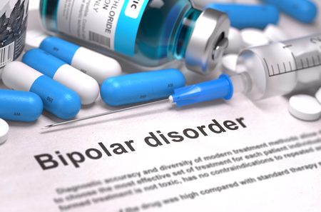 psychosocial: Diagnosis - Bipolar Disorder. Medical Concept with Blue Pills, Injections and Syringe. Selective Focus. Blurred Background. 3D Render.