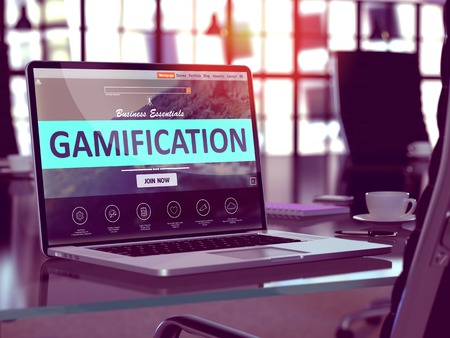 Gamification Concept Closeup on Laptop Screen in Modern Office Workplace. Toned Image with Selective Focus. 3D Render.