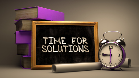 presently: Time for Solutions - Chalkboard with Hand Drawn Text, Stack of Books, Alarm Clock and Rolls of Paper on Blurred Background. Toned Image. 3D Render.