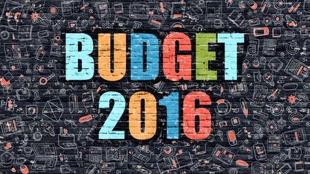 Multicolor Concept - Budget 2016 on Dark Brick Wall with Doodle Icons. Modern Illustration in Doodle Style. Budget 2016 Business Concept. Budget 2016 on Dark Wall.