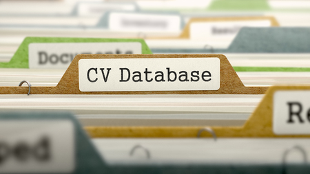 CV Database Concept on File Label in Multicolor Card Index. Closeup View. Selective Focus.  3D Render.