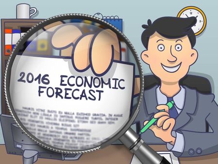 economic forecast: 2016 Economic Forecast on Paper in Mans Hand to Illustrate a Business Concept. Closeup through Magnifier. Colored Modern Line Illustration in Doodle Style.