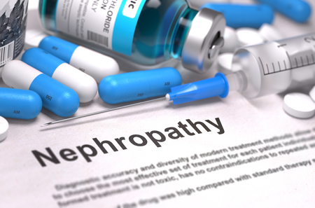 Nephropathy - Printed Diagnosis with Blue Pills, Injections and Syringe. Medical Concept with Selective Focus. 3D Render. Stock Photo