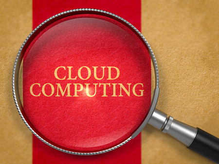 dark red: Cloud Computing through Loupe on Old Paper with Dark Red Vertical Line Background. 3D Render.