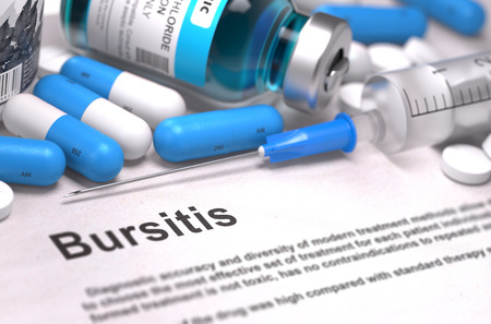 musculoskeletal: Bursitis - Printed Diagnosis with Blurred Text. On Background of Medicaments Composition - Blue Pills, Injections and Syringe. 3D Render. Stock Photo