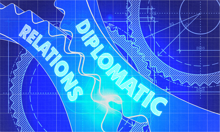 diplomatic: Diplomatic Relations on the Mechanism of Gears. Blueprint Style. Technical Design. 3d illustration, Lens Flare.