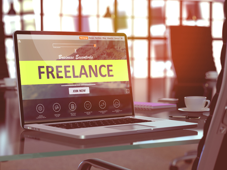 freelancing: Freelance Concept Closeup on Laptop Screen in Modern Office Workplace. Toned Image with Selective Focus. 3D Render.