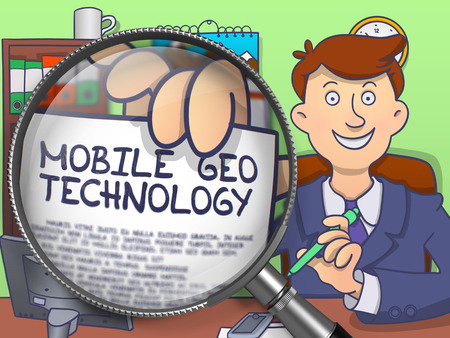geo: Mobile Geo Technology on Paper in Businessmans Hand through Magnifier to Illustrate a Business Concept. Colored Modern Line Illustration in Doodle Style.