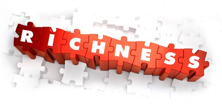 richness: Richness - White Word on Red Puzzles on White Background. 3D Render.