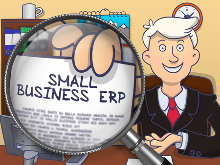 erp: Small Business Erp. Smiling Man Welcomes in Office and Showing Paper with Text through Magnifier. Colored Doodle Style Illustration.