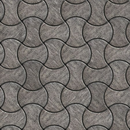 scuffed: Gray Paving Slabs with Scuffed in the Streamlined Form. Seamless Tileable Texture. Stock Photo