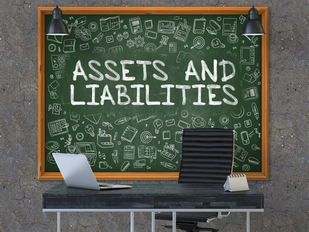 liabilities: Assets and Liabilities Concept Handwritten on Green Chalkboard with Doodle Icons. Office Interior with Modern Workplace. Dark Old Concrete Wall Background. 3D. Stock Photo