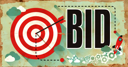 puja: Bid Concept on Old Poster in Flat Design with Red Target, Rocket and Arrow.