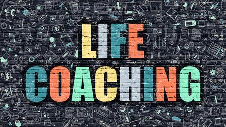стиль жизни: Жизнь Коучинг Концепция. Современные иллюстрации. Многоцветный Жизнь Коучинг нарисованы на Dark кирпичной стене. Doodle иконки. Doodle стиль жизни тренерской концепции. Жизнь Коучинг на стене.