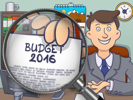 current account: Budget 2016. Handsome Officeman Welcomes in Office and Showing a Text on Paper through Lens. Colored Doodle Illustration. Stock Photo