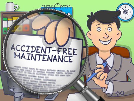 preventive: Accident-Free Maintenance on Paper in Businessmans Hand to Illustrate a Business Concept. Closeup View through Magnifier. Multicolor Modern Line Illustration in Doodle Style. Stock Photo
