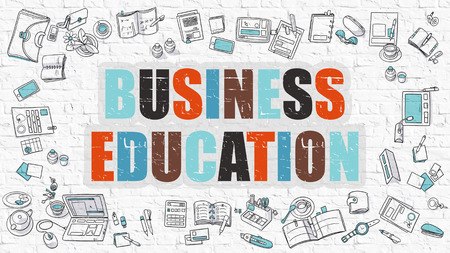 training programs: Multicolor Concept - Business Education - on White Brick Wall with Doodle Icons Around. Modern Illustration with Doodle Design Style.