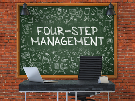 competitividad: Green Chalkboard with the Text Four-Step Management Hangs on the Red Brick Wall in the Interior of a Modern Office. Illustration with Doodle Style Elements. 3D.