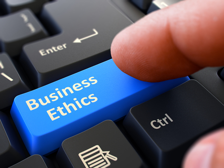 Business Ethics Concept. Person Click on Blue Keyboard Button with Business Ethics. Selective Focus. Closeup View. 3D Render. Stock Photo
