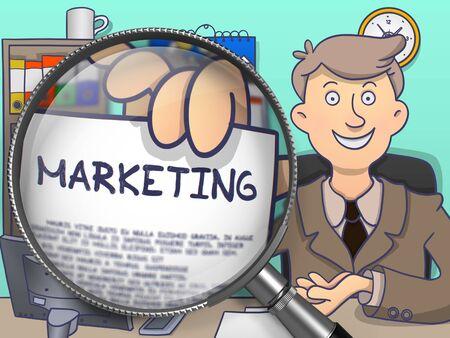 Márketing. El hombre de negocios que muestra un papel con el texto a través de la lupa. Ilustración de color de línea de estilo moderno Doodle.