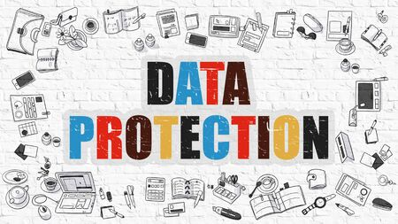 secret identities: Data Protection Concept. Modern Line Style Illustration. Multicolor Data Protection Drawn on White Brick Wall. Doodle Icons. Doodle Design Style of Data Protection Concept.