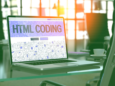 meta data: HTML Coding Concept. Closeup Landing Page on Laptop Screen in Doodle Design Style. On Background of Comfortable Working Place in Modern Office. Blurred, Toned Image. 3D Render.