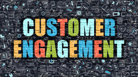 customer: Customer Engagement Concept. Modern Illustration. Multicolor Customer Engagement Drawn on Dark Brick Wall. Doodle Icons. Doodle Style of Customer Engagement Concept. Customer Engagement on Wall.