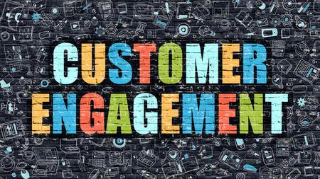 verlobung: Customer Engagement-Konzept. Modern Illustration. Customer Engagement Multicolor Gezeichnet auf dunklen Ziegelmauer. Doodle-Icons. Doodle Art von Customer Engagement-Konzept. Customer Engagement an der Wall.