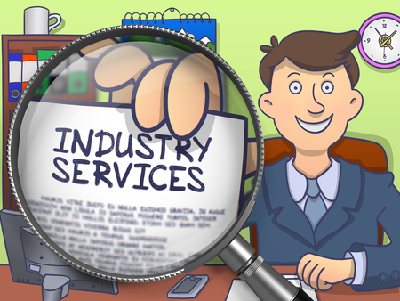 workmanship: Industry Services. Concept on Paper in Officemans Hand through Lens. Colored Doodle Illustration.