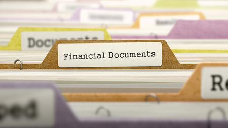 marked: Folder in Colored Catalog Marked as Financial Documents Closeup View. Selective Focus. 3D Render.