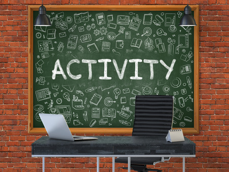 exploit: Green Chalkboard with the Text Activity Hangs on the Red Brick Wall in the Interior of a Modern Office. Illustration with Doodle Style Elements. 3D. Stock Photo