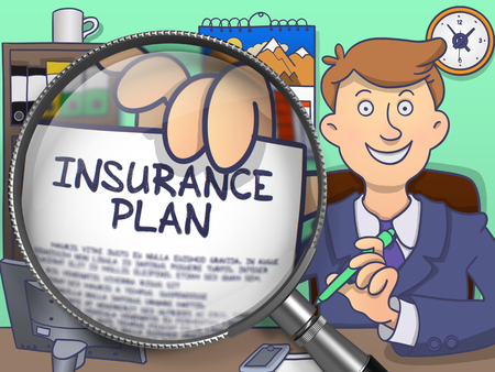 education policy: Insurance Plan. Man Welcomes in Office and Holds Out a through Magnifier Concept on Paper. Colored Doodle Style Illustration.