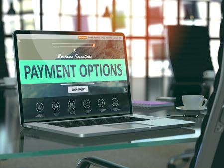 pagando: Lugar de trabajo moderno con la computadora portátil que muestra la página de destino con opciones de pago Concepto. Imagen virada con enfoque selectivo. Render 3D. Foto de archivo