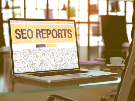relevance: SEO - Search Engine Optimization - Reports - Closeup Landing Page in Doodle Design Style on Laptop Screen. On Background of Comfortable Working Place in Modern Office. Toned, Blurred Image. 3D Render.