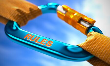 injunction: Blue Carabiner between Orange Ropes on Sky Background, Symbolizing the Rules. Selective Focus. 3D Render.