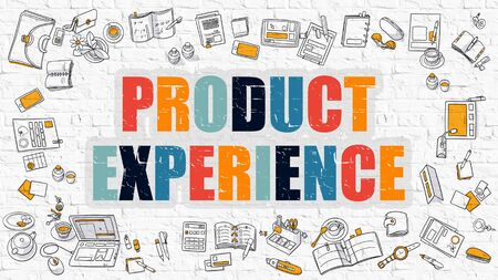 expressed: Product Experience Concept. Modern Line Style Illustration. Multicolor Product Experience Drawn on White Brick Wall. Doodle Icons. Doodle Design Style of  Product Experience  Concept. Stock Photo