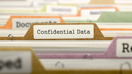 larceny: Confidential Data Concept. Colored Document Folders Sorted for Catalog. Closeup View. Selective Focus. 3D Render.