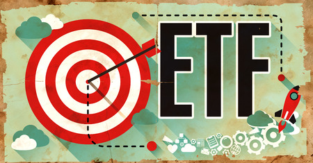 traded: ETF - Exchange Traded Fund - Concept on Old Poster in Flat Design with Red Target, Rocket and Arrow. Business Concept. Stock Photo