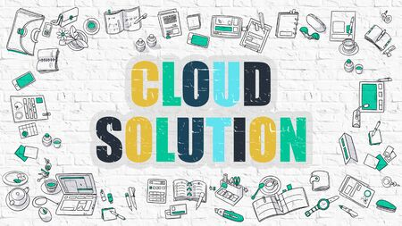 wall cloud: Cloud Solution Concept. Modern Line Style Illustration. Multicolor Cloud Solution Drawn on White Brick Wall. Doodle Icons. Doodle Design Style of Cloud Solution Concept.