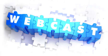 webcast: Webcast - White Word on Blue Puzzles on White Background. 3D Illustration. Stock Photo